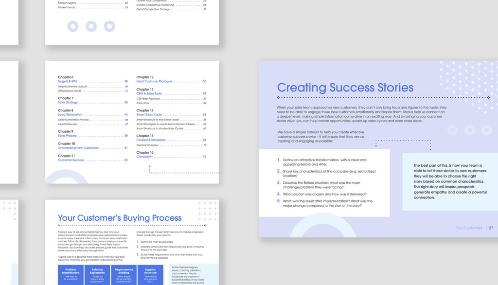 Screenshot of a 73-page free guide outlining everything a sales playbook can entail.