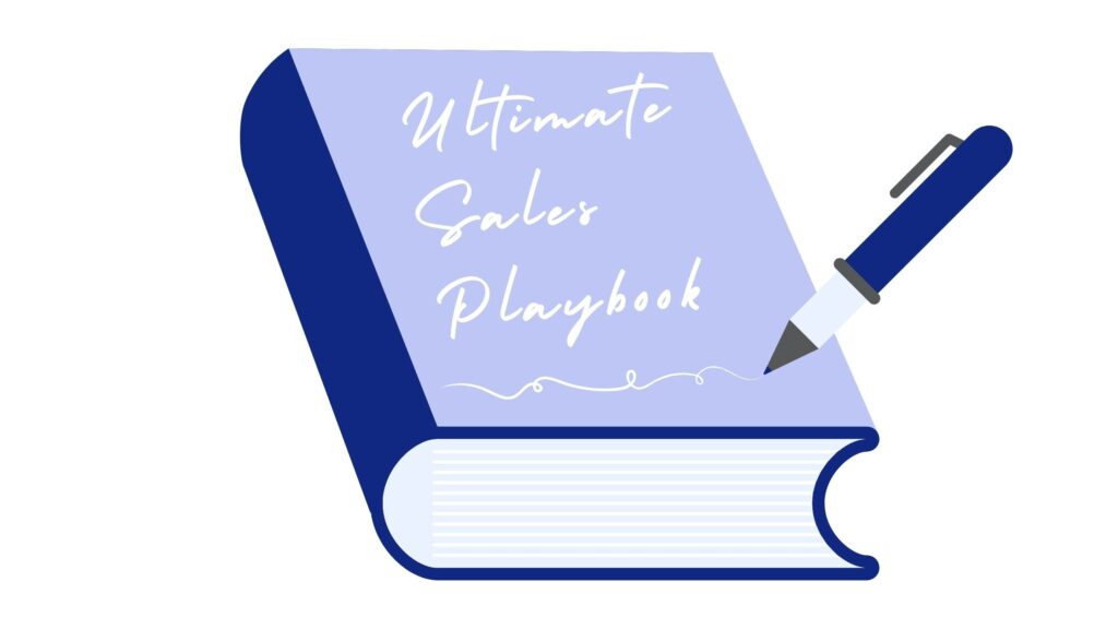 A dark blue book with a light blue front cover with the title: Ultimate Sales Playbook. There is a dark blue pen that has just finished writing the title.
